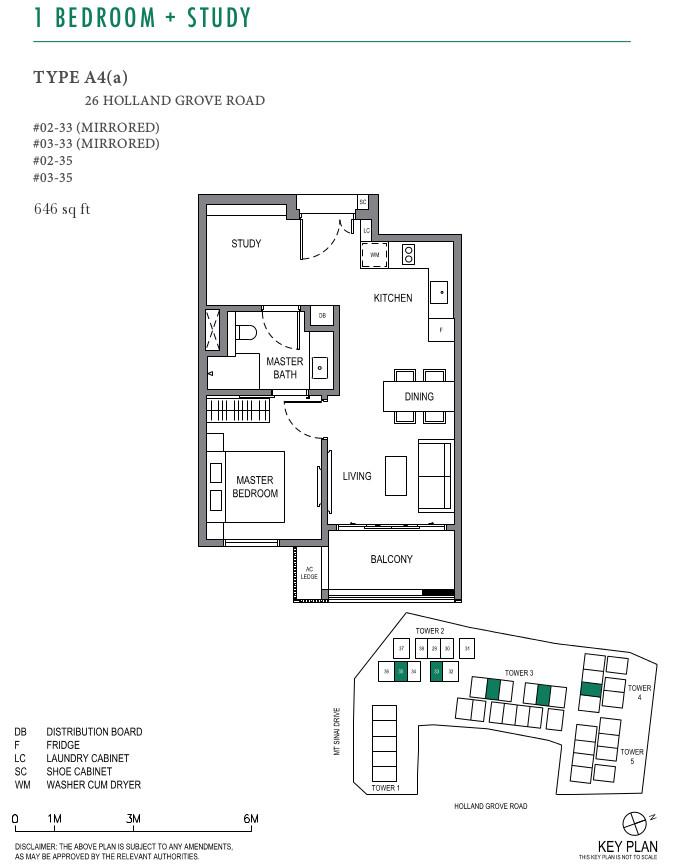 ParkSuites Condo Floor Plan 1BR+Study Type A4(a)