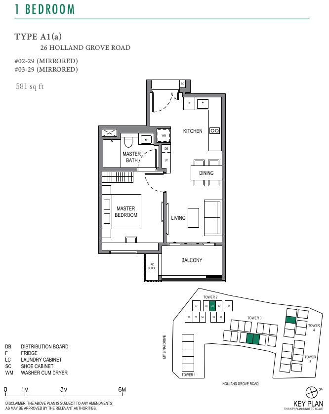 ParkSuites Floor Plan 1BR Type A1(a)