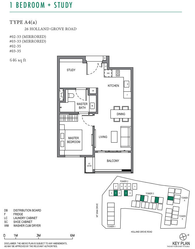ParkSuites Condo Floor Plan 1BR+Study Type A4(a)